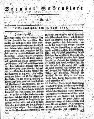 Sorauer Wochenblatt für Unterhaltung, Belehrung und Ereignisse der Gegenwart vom 19.04.1817