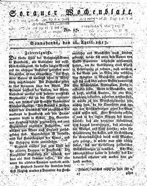 Sorauer Wochenblatt für Unterhaltung, Belehrung und Ereignisse der Gegenwart vom 26.04.1817