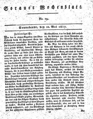 Sorauer Wochenblatt für Unterhaltung, Belehrung und Ereignisse der Gegenwart vom 10.05.1817
