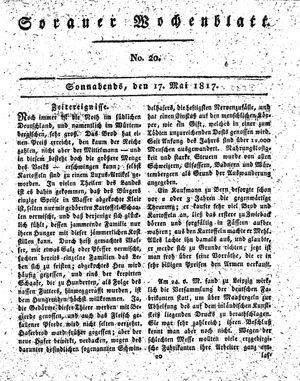 Sorauer Wochenblatt für Unterhaltung, Belehrung und Ereignisse der Gegenwart vom 17.05.1817