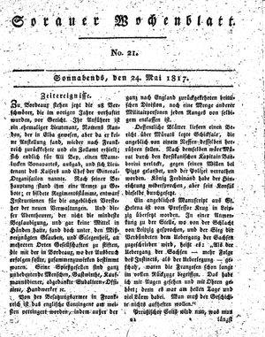 Sorauer Wochenblatt für Unterhaltung, Belehrung und Ereignisse der Gegenwart vom 24.05.1817
