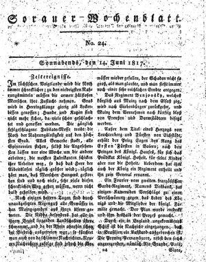 Sorauer Wochenblatt für Unterhaltung, Belehrung und Ereignisse der Gegenwart vom 14.06.1817
