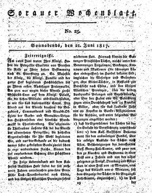 Sorauer Wochenblatt für Unterhaltung, Belehrung und Ereignisse der Gegenwart vom 21.06.1817