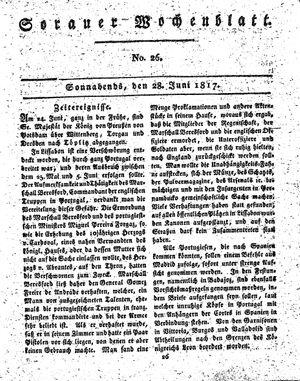 Sorauer Wochenblatt für Unterhaltung, Belehrung und Ereignisse der Gegenwart vom 28.06.1817
