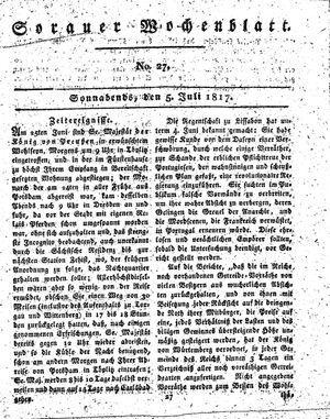 Sorauer Wochenblatt für Unterhaltung, Belehrung und Ereignisse der Gegenwart vom 05.07.1817
