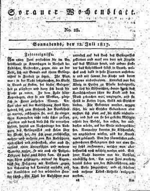 Sorauer Wochenblatt für Unterhaltung, Belehrung und Ereignisse der Gegenwart vom 12.07.1817