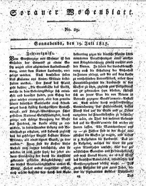 Sorauer Wochenblatt für Unterhaltung, Belehrung und Ereignisse der Gegenwart on Jul 19, 1817