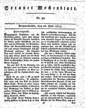 Sorauer Wochenblatt für Unterhaltung, Belehrung und Ereignisse der Gegenwart vom 26.07.1817