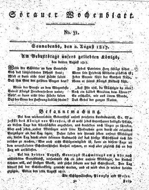 Sorauer Wochenblatt für Unterhaltung, Belehrung und Ereignisse der Gegenwart vom 02.08.1817