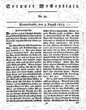 Sorauer Wochenblatt für Unterhaltung, Belehrung und Ereignisse der Gegenwart vom 09.08.1817