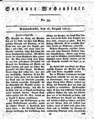 Sorauer Wochenblatt für Unterhaltung, Belehrung und Ereignisse der Gegenwart vom 16.08.1817
