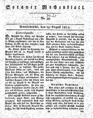Sorauer Wochenblatt für Unterhaltung, Belehrung und Ereignisse der Gegenwart vom 23.08.1817