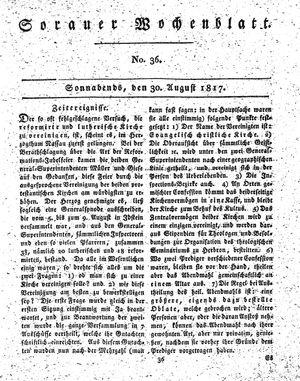 Sorauer Wochenblatt für Unterhaltung, Belehrung und Ereignisse der Gegenwart on Aug 30, 1817