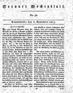 Sorauer Wochenblatt für Unterhaltung, Belehrung und Ereignisse der Gegenwart vom 06.09.1817