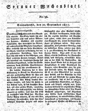Sorauer Wochenblatt für Unterhaltung, Belehrung und Ereignisse der Gegenwart vom 20.09.1817