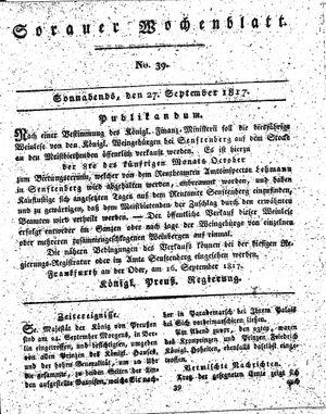 Sorauer Wochenblatt für Unterhaltung, Belehrung und Ereignisse der Gegenwart vom 27.09.1817