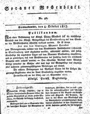 Sorauer Wochenblatt für Unterhaltung, Belehrung und Ereignisse der Gegenwart vom 04.10.1817