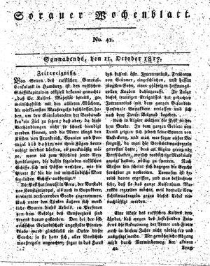 Sorauer Wochenblatt für Unterhaltung, Belehrung und Ereignisse der Gegenwart vom 11.10.1817