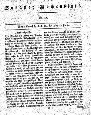 Sorauer Wochenblatt für Unterhaltung, Belehrung und Ereignisse der Gegenwart vom 18.10.1817