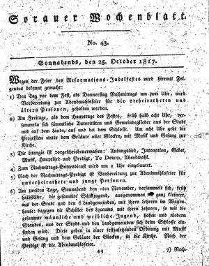 Sorauer Wochenblatt für Unterhaltung, Belehrung und Ereignisse der Gegenwart vom 25.10.1817