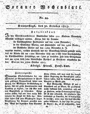Sorauer Wochenblatt für Unterhaltung, Belehrung und Ereignisse der Gegenwart vom 30.10.1817