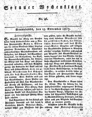 Sorauer Wochenblatt für Unterhaltung, Belehrung und Ereignisse der Gegenwart on Nov 15, 1817