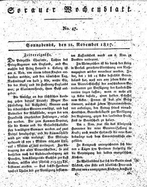 Sorauer Wochenblatt für Unterhaltung, Belehrung und Ereignisse der Gegenwart vom 22.11.1817