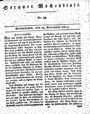 Sorauer Wochenblatt für Unterhaltung, Belehrung und Ereignisse der Gegenwart vom 29.11.1817