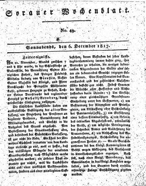 Sorauer Wochenblatt für Unterhaltung, Belehrung und Ereignisse der Gegenwart vom 06.12.1817