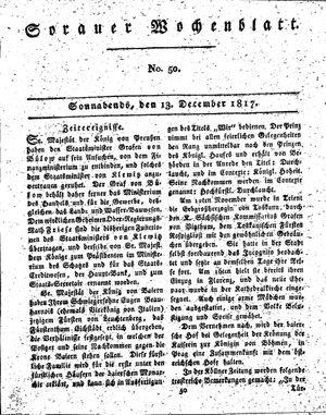 Sorauer Wochenblatt für Unterhaltung, Belehrung und Ereignisse der Gegenwart vom 13.12.1817