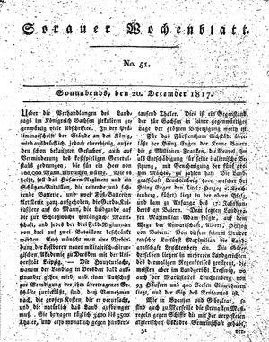 Sorauer Wochenblatt für Unterhaltung, Belehrung und Ereignisse der Gegenwart vom 20.12.1817