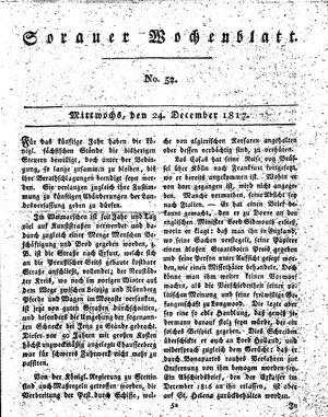 Sorauer Wochenblatt für Unterhaltung, Belehrung und Ereignisse der Gegenwart vom 24.12.1817
