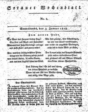 Sorauer Wochenblatt für Unterhaltung, Belehrung und Ereignisse der Gegenwart vom 03.01.1818