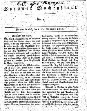 Sorauer Wochenblatt für Unterhaltung, Belehrung und Ereignisse der Gegenwart on Jan 10, 1818