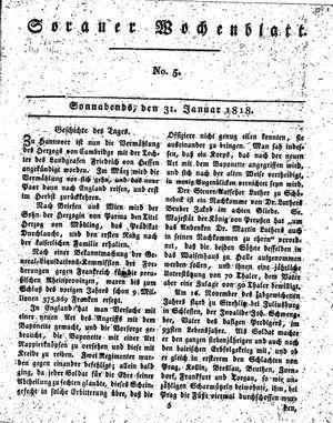Sorauer Wochenblatt für Unterhaltung, Belehrung und Ereignisse der Gegenwart vom 31.01.1818