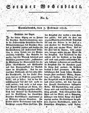 Sorauer Wochenblatt für Unterhaltung, Belehrung und Ereignisse der Gegenwart vom 07.02.1818