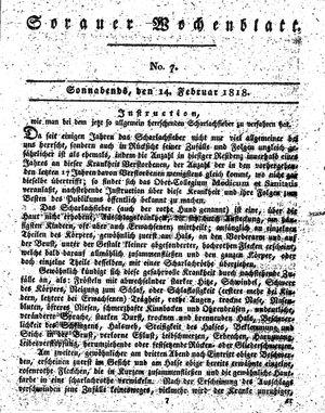 Sorauer Wochenblatt für Unterhaltung, Belehrung und Ereignisse der Gegenwart vom 14.02.1818