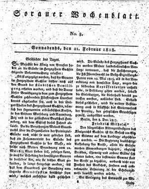 Sorauer Wochenblatt für Unterhaltung, Belehrung und Ereignisse der Gegenwart vom 21.02.1818