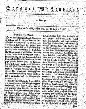 Sorauer Wochenblatt für Unterhaltung, Belehrung und Ereignisse der Gegenwart vom 28.02.1818