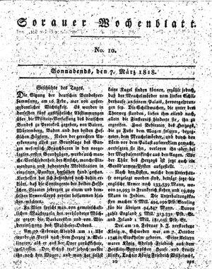 Sorauer Wochenblatt für Unterhaltung, Belehrung und Ereignisse der Gegenwart vom 07.03.1818