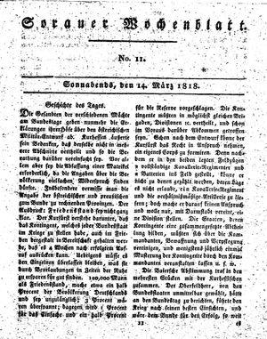 Sorauer Wochenblatt für Unterhaltung, Belehrung und Ereignisse der Gegenwart vom 14.03.1818