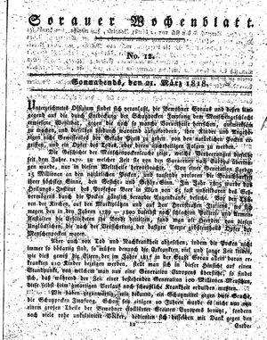 Sorauer Wochenblatt für Unterhaltung, Belehrung und Ereignisse der Gegenwart vom 21.03.1818
