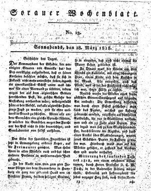 Sorauer Wochenblatt für Unterhaltung, Belehrung und Ereignisse der Gegenwart vom 28.03.1818