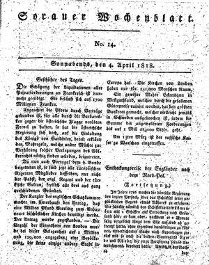 Sorauer Wochenblatt für Unterhaltung, Belehrung und Ereignisse der Gegenwart vom 04.04.1818