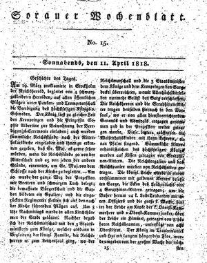 Sorauer Wochenblatt für Unterhaltung, Belehrung und Ereignisse der Gegenwart vom 11.04.1818