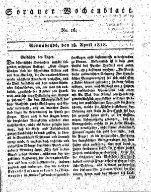 Sorauer Wochenblatt für Unterhaltung, Belehrung und Ereignisse der Gegenwart vom 18.04.1818