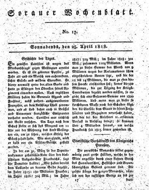 Sorauer Wochenblatt für Unterhaltung, Belehrung und Ereignisse der Gegenwart vom 25.04.1818