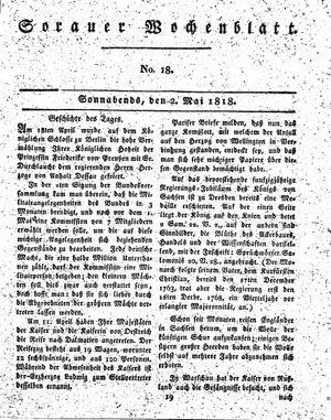 Sorauer Wochenblatt für Unterhaltung, Belehrung und Ereignisse der Gegenwart vom 02.05.1818