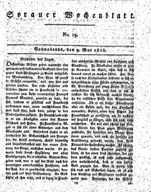 Sorauer Wochenblatt für Unterhaltung, Belehrung und Ereignisse der Gegenwart vom 09.05.1818