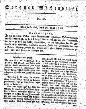 Sorauer Wochenblatt für Unterhaltung, Belehrung und Ereignisse der Gegenwart vom 16.05.1818